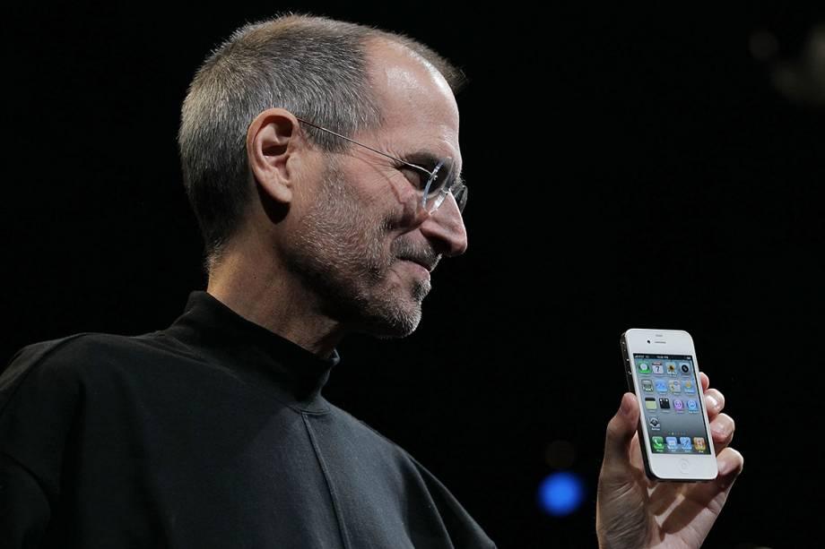 Steve Jobs durante o lançamento do iPhone 4 em 2009, em São Francisco
