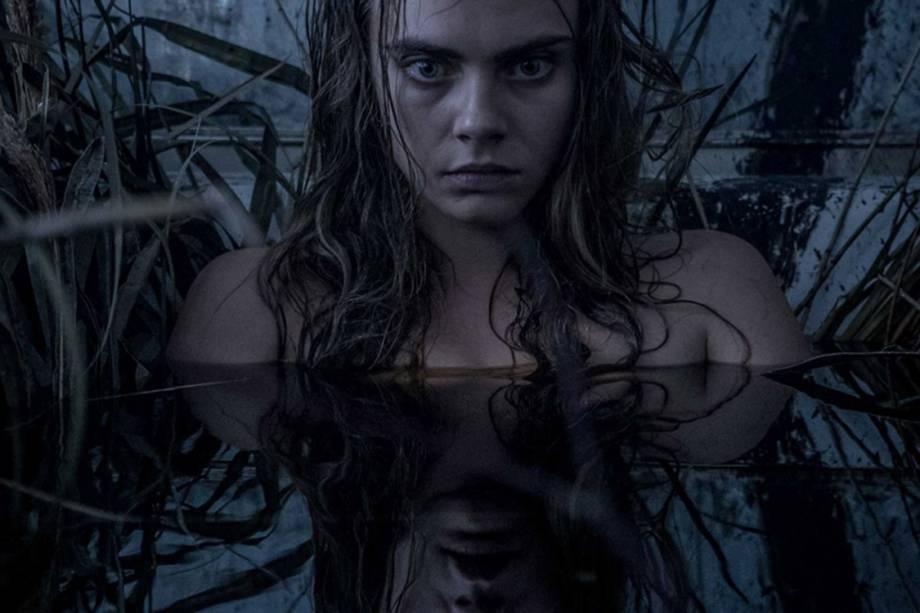 A atriz Cara Delevingne em cena do filme 'Esquadrão Suicida'Cena do filme 'Esquadrão Suicida'