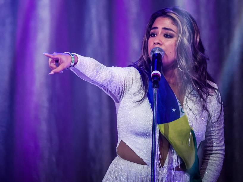 A cantora Ally Brooke durante show do grupo Fifth Harmony, em São Paulo