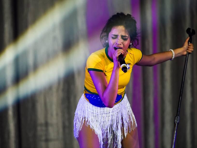 A cantora Camila Cabello durante show do grupo Fifth Harmony, em São Paulo