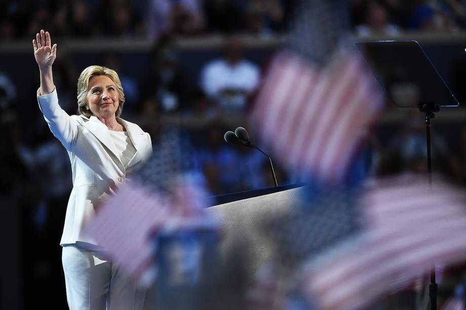 Hillary Clinton durante o quarto dia da Convenção do Partido Democrata americano, na Filadélfia (EUA) - 28/07/2016