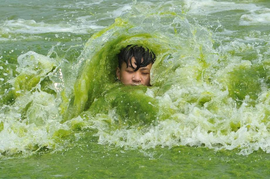 A boy plays on a algae-covered beach in Qingdao, Shandong province, China, July 18, 2016. Picture taken July 18, 2016. REUTERS/Stringer ATTENTION EDITORS - THIS PICTURE WAS PROVIDED BY A THIRD PARTY. EDITORIAL USE ONLY. CHINA OUT. NO COMMERCIAL OR EDITORIAL SALES IN CHINA.