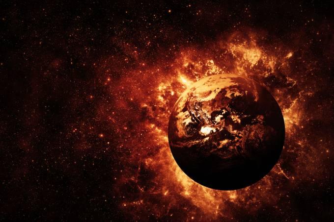 Planeta explodindo