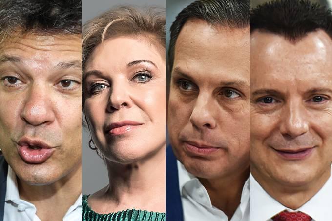 Os candidatos à Prefeitura de São Paulo: Fernando Haddad, Marta Suplicy, João Dória Jr, e Celso Russomanno