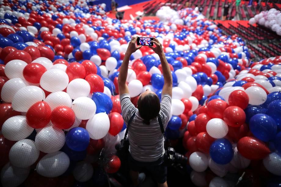 Fotógrafo registra os últimos preparativos para a Convenção Nacional Republicana na Quicken Loans Arena em Cleveland, Ohio - 15/07/2016
