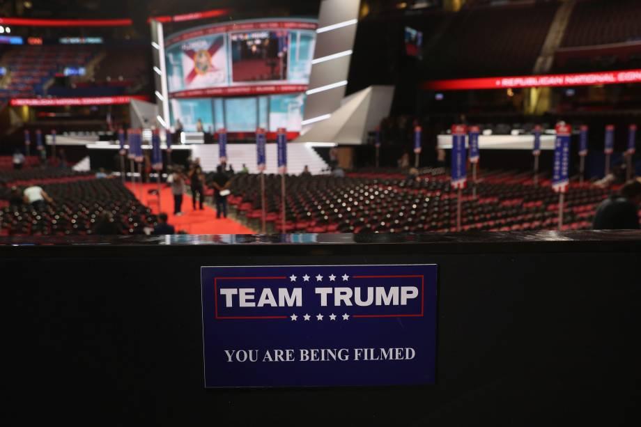 Placa marca a área que será destinada a familiares e personalidades que apóiam o candidato Donald Trump durante a Convenção Nacional do Partido Republicano em Cleveland, Ohio - 17/07/2016