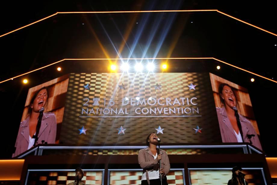 Cantora Demi Lovato realiza ensaio para a sua apresentação, na Convenção Nacional do Partido Democrata, na cidade de Filadélfia (EUA) - 25/07/2016