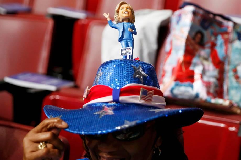 Chapéu de delegada, durante a Convenção Nacional Democrata,  na cidade da Filadélfia (EUA) - 25/07/2016