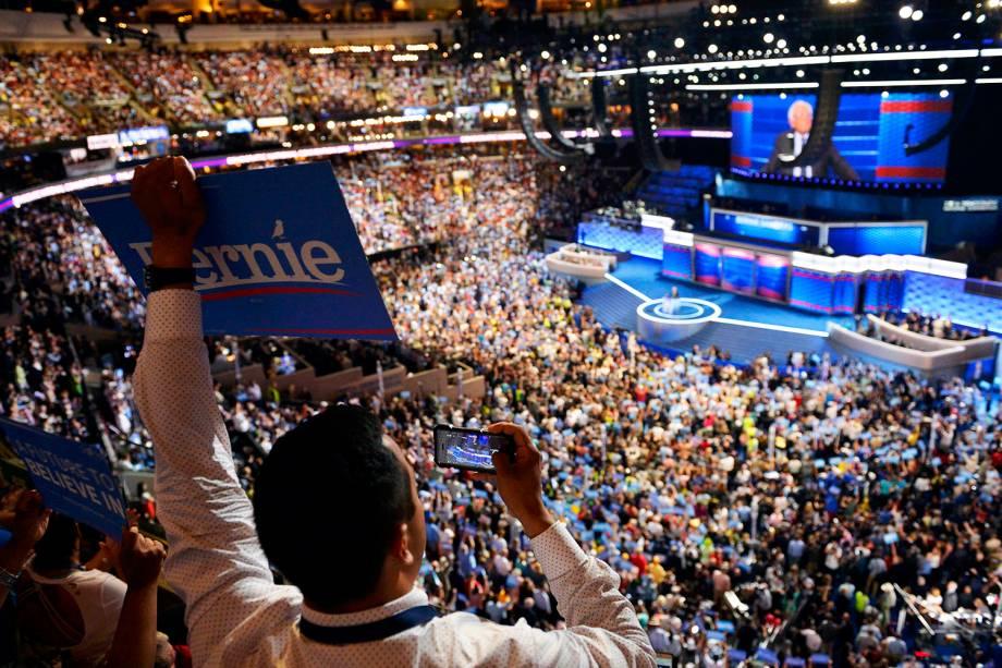 Delegado apoiador de Bernie Sanders, durante a Convenção Nacional do Partido Democrata americano, realizada na cidade da Filadélfia (EUA) - 25/07/2016