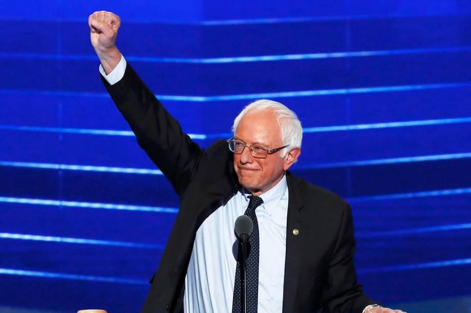 Candidato democrata à presidência dos Estados Unidos, Bernie Sanders, discursa durante a convenção de seu partido, na cidade da Filadélfia (EUA) - 25/07/2016