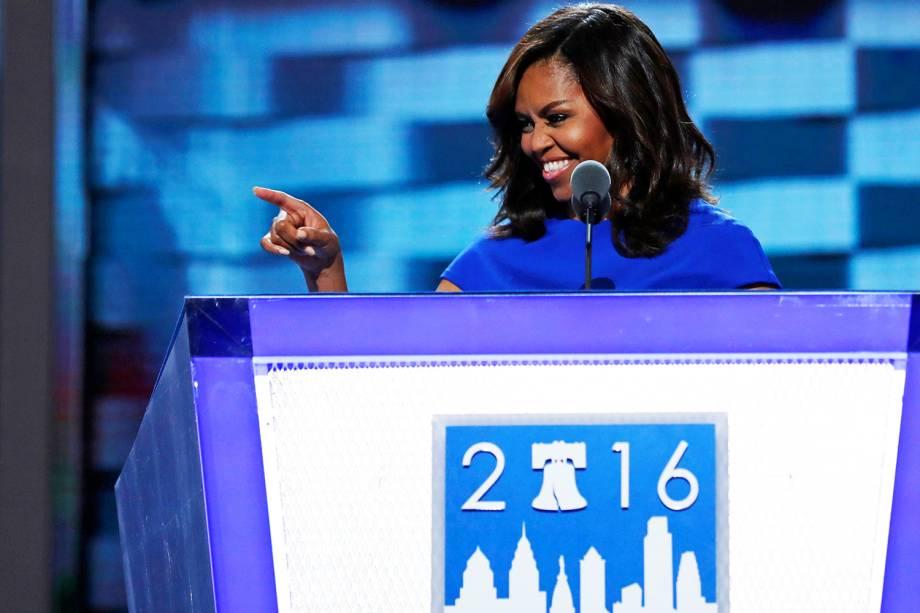 A primeira-dama dos Estados Unidos, Michelle Obama, discursa durante a Convenção Nacional do Partido Democrata americano, na Filadélfia (EUA) - 25/07/2016
