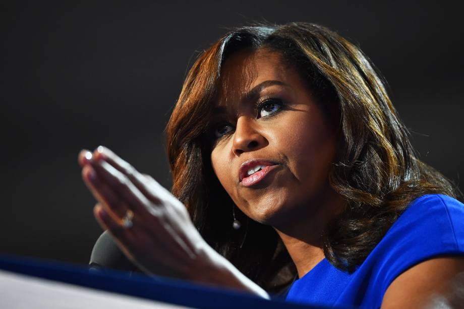 A primeira-dama dos Estados Unidos, Michelle Obama, durante o primeiro dia da Convenção nacional do Partido Democrata americano, realizada em Filadélfia (EUA) - 25/07/2016