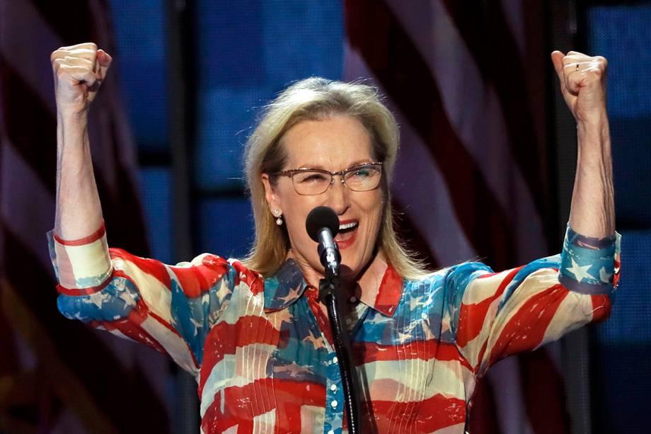 A atriz Meryl Streep discursa durante o segundo dia da Convenção Nacional do Partido Democrata americano, na Filadélfia (EUA) - 27/07/2016