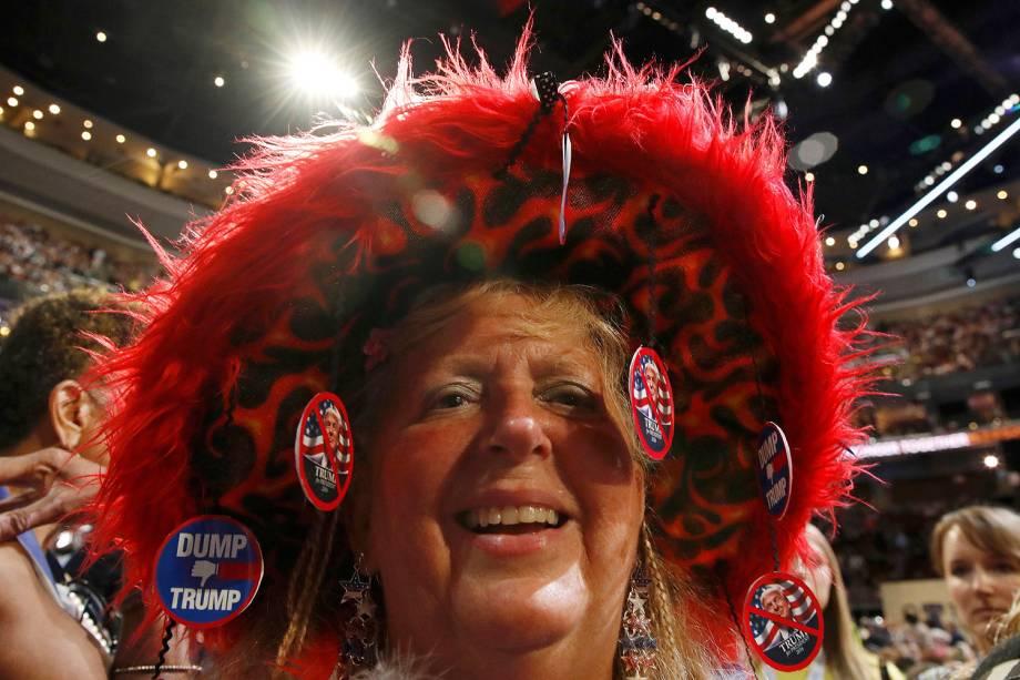 Apoiadora de Hillary Clinton durante o quarto dia da Convenção do Partido Democrata americano, na Filadélfia (EUA) - 28/07/2016