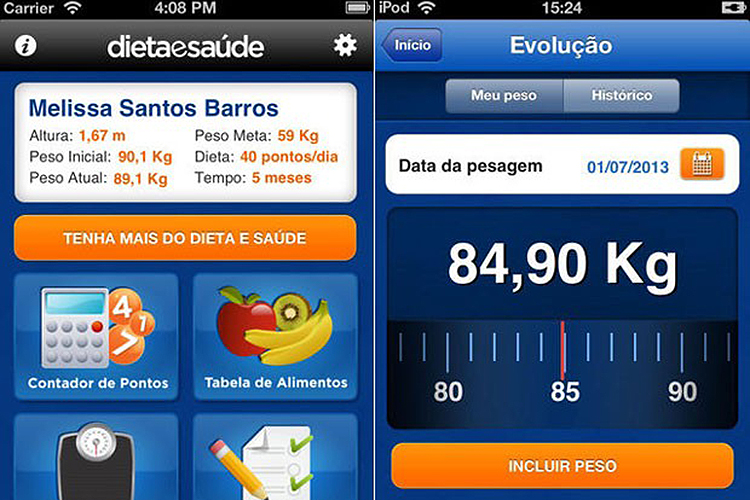 O aplicativo 'Dieta e Saúde'