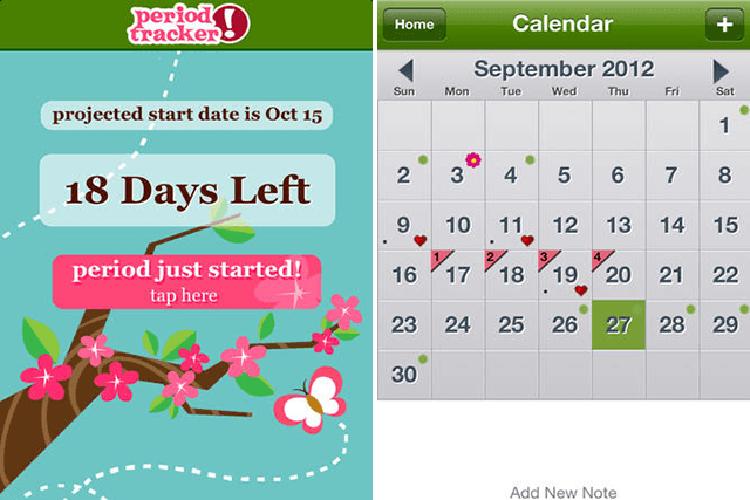 O aplicativo 'Period Tracker'