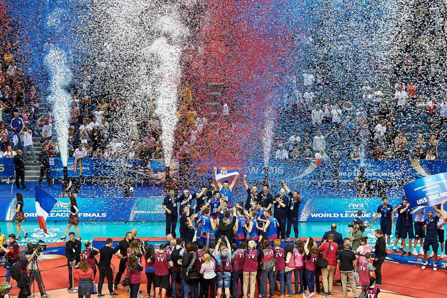 Sérvia campeã da Liga Mundial de vôlei, em Cracóvia, na Polônia, neste domingo (17)