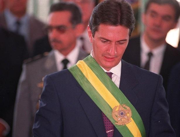 O ex-presidente Fernando Collor com a faixa presidencial na posse, em 1990