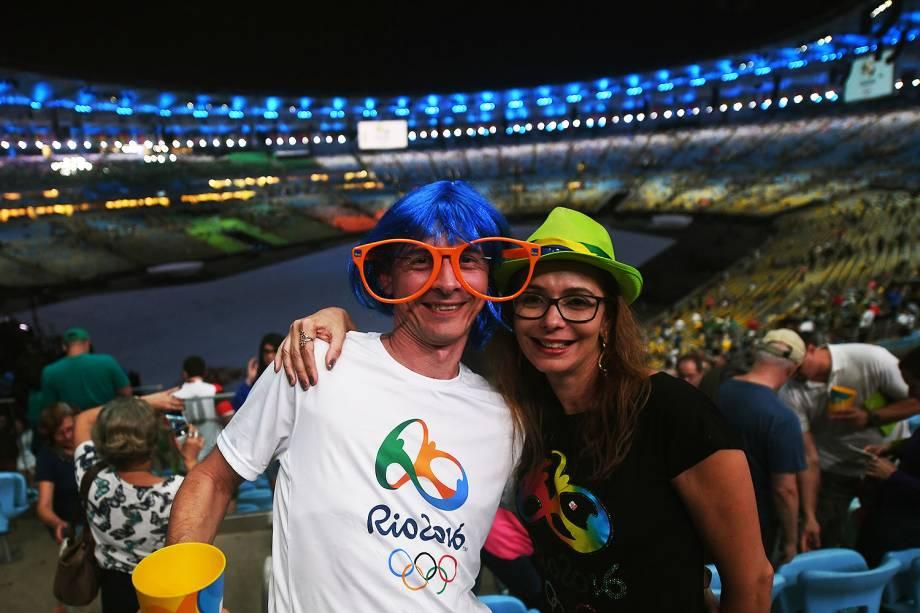 Movimentação no estádio do Maracanã antes da cerimônia de abertura dos Jogos Olímpicos Rio 2016