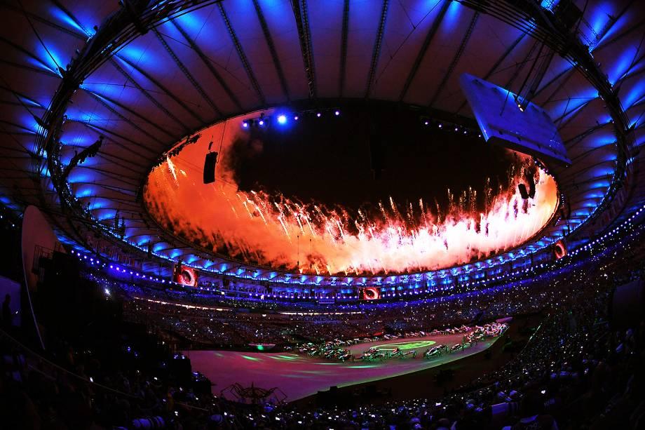 Cerimônia de abertura dos Jogos Olímpicos Rio 2016, no estádio do Maracanã