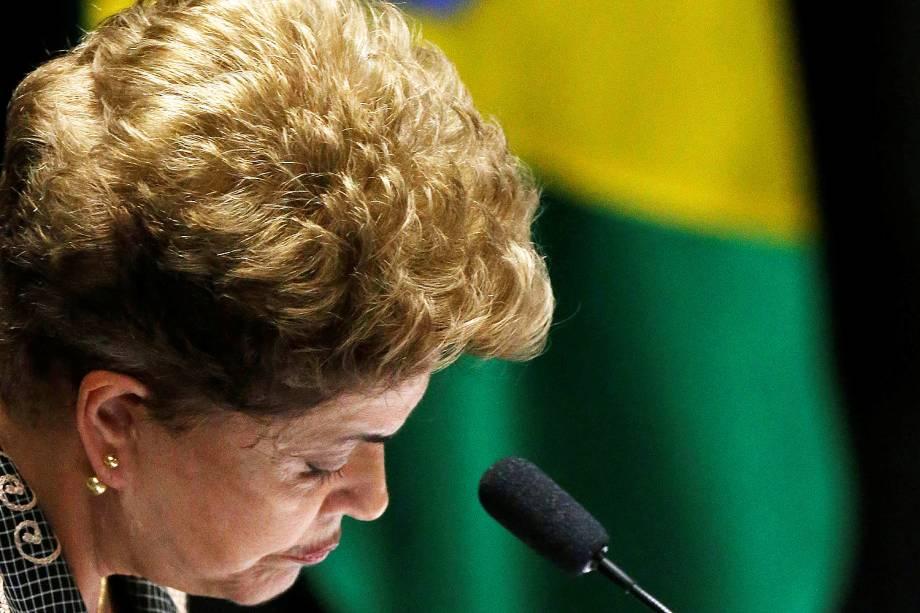 A presidente afastada, Dilma Rousseff, faz sua defesa durante sessão de julgamento do impeachment no Senado - 29/08/2016