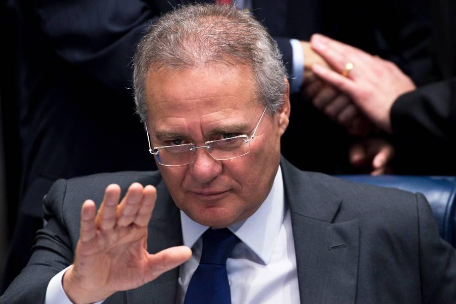 O presidente do Senado Federal, Renan Calheiros, durante sessão para o julgamento final do processo de impeachment da presidente afastada Dilma Rousseff - 31/08/2016