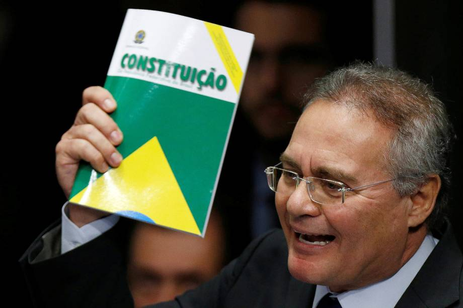 O presidente do Senado Federal, Renan Calheiros, durante sessão de julgamento de Dilma Rousseff - 31/08/2016