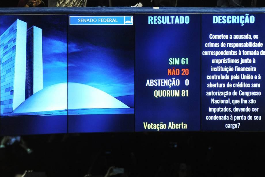Por 61 votos a favor do impeachment e 20 votos contra, Dilma Rousseff é afastada definitivamente do cargo de presidente da República - 31/08/2016