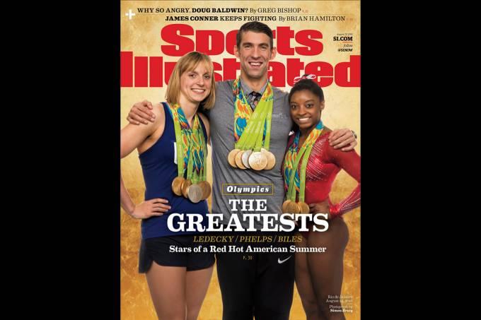 Capa de revista com Katie Ledecky, Michael Phelps e Simone Biles