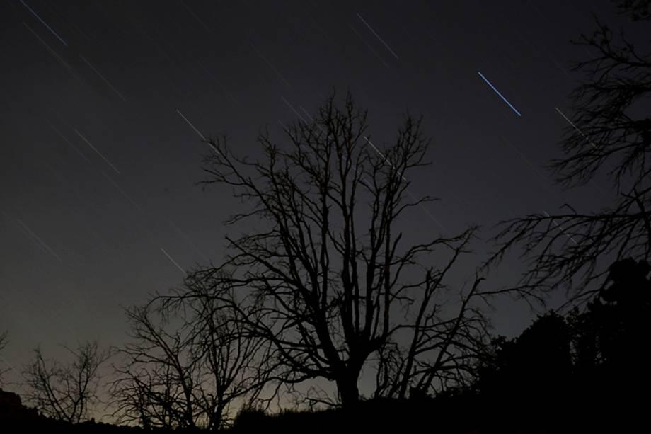 A chuva de meteoros Perseida é vista nos céus de Madri, na Espanha