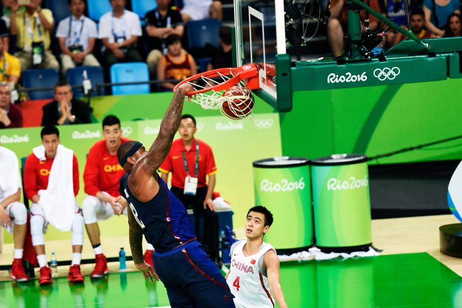 Lance na partida entre China e Estados Unidos, nas Olimpíadas Rio 2016