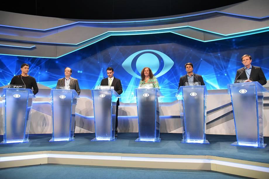 Primeiro debate entre os aspirantes à Prefeitura do Rio de Janeiro, no Teatro Oi Casa Grande, no Leblon (zona sul), nesta quinta-feira (25)