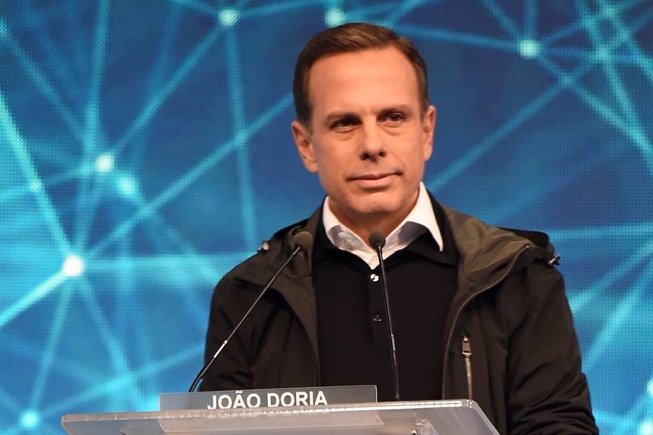 O candidato à Prefeitura de São Paulo, João Doria durante o debate na Band