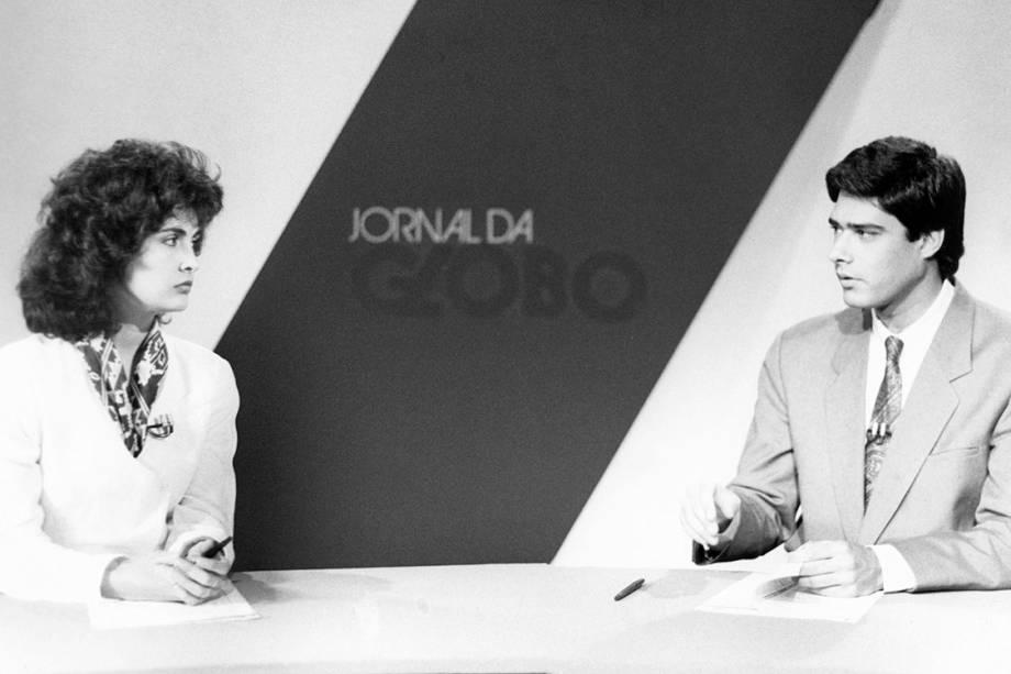 Fátima Bernardes e William Bonner durante o Jornal da Globo, em 1989