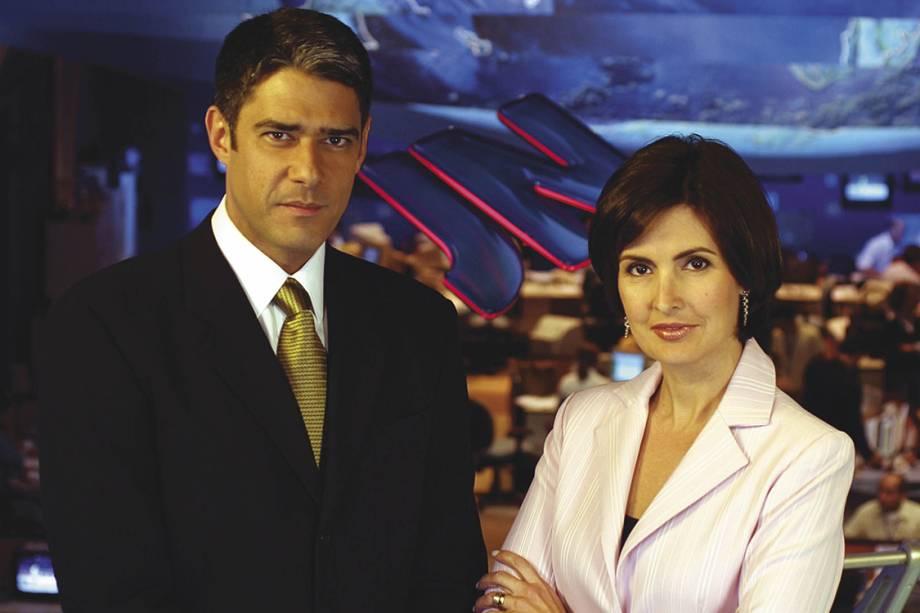 Fátima Bernardes e William Bonner durante intervalo do Jornal Nacional, em 2004