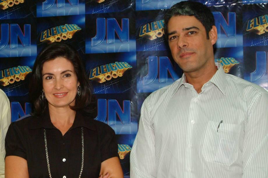 William Bonner e Fátima Bernardes durante cobertura das eleições de 2006