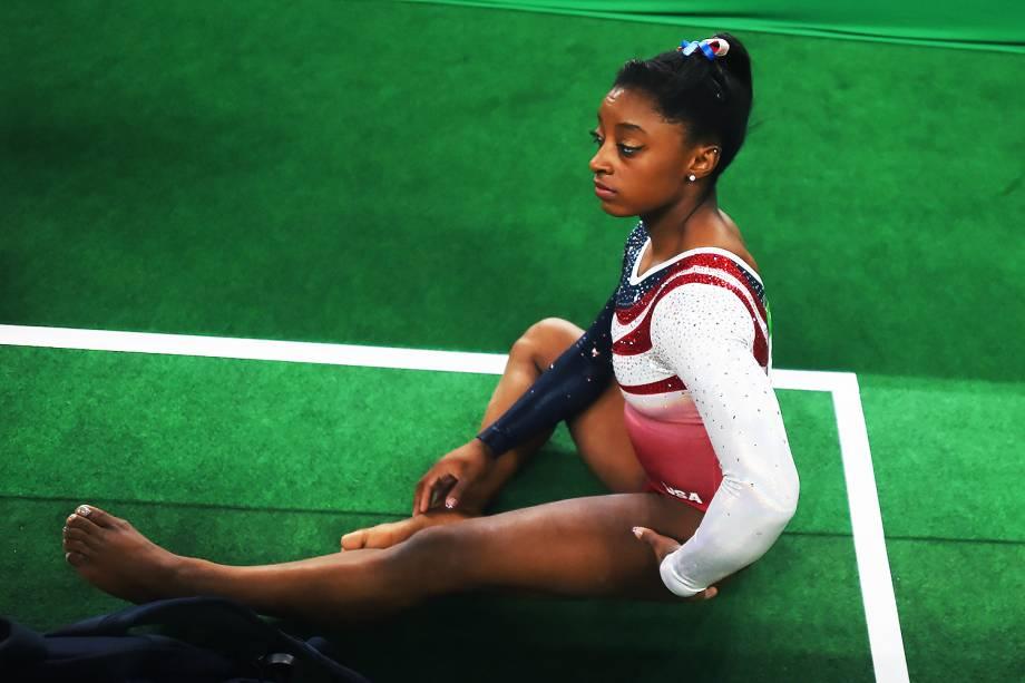 A ginasta Simone Biles, dos Estados Unidos, durante a final por equipes, nas Olimpíadas Rio 2016