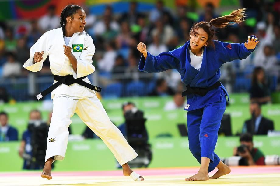 A judoca brasileira Érika Miranda, derrota a tunisiana Hela Ayari, no torneio de judô feminino, categoria 52kg, na Arena Carioca 2 - 07/08/2016