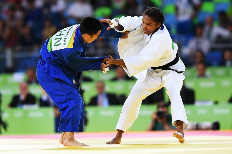 A judoca brasileira Érika Miranda, perde para a chinesa Ma Yingnan, nas quartas-de-final do judô feminino, categoria 52kg, realizada na Arena Carioca 2 - 07/08/2016