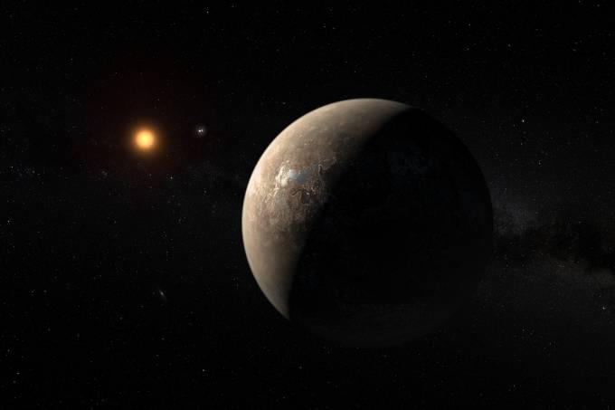 Impressão artística mostra o planeta Proxima b orbitando a estrela anã vermelha Proxima Centauri