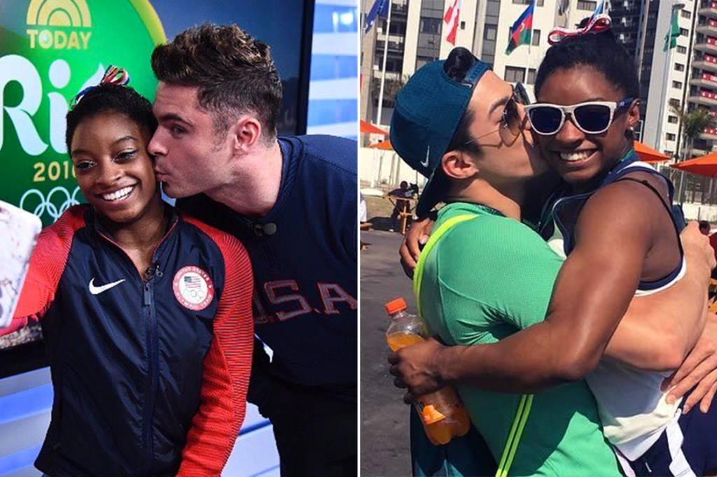 A ginasta Simone Biles posta fotos tietando o ator Zac Efron e o ginasta brasileiro Arthur Nory