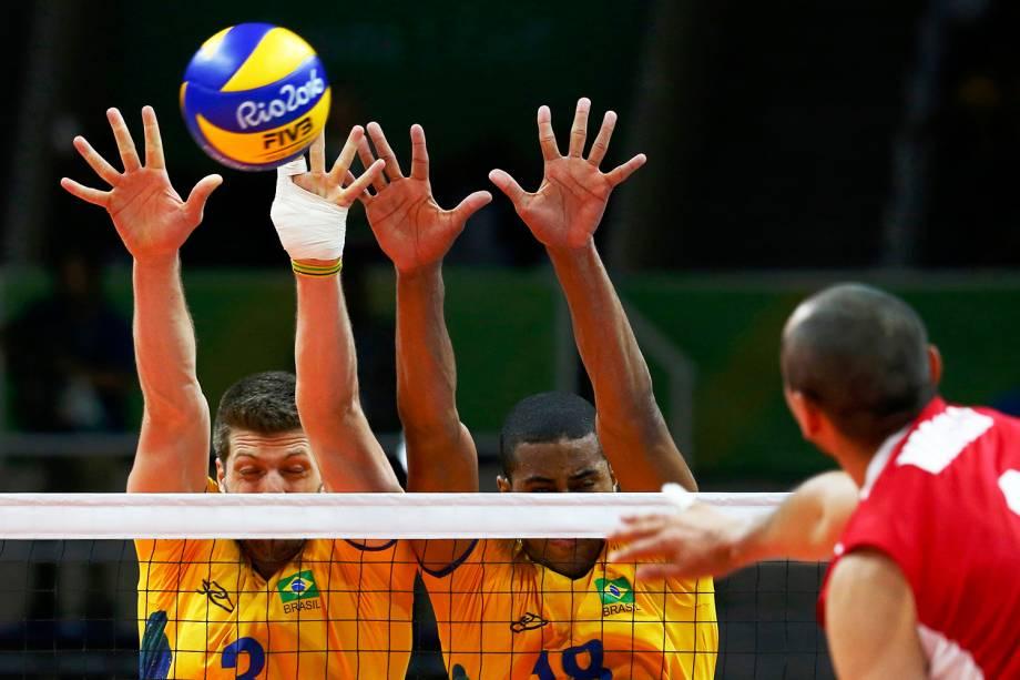Partida entre Brasil e México, válida pelas preliminares do torneio de vôlei de quadra masculino, realizada no Maracanazinho, no Rio de Janeiro (RJ) - 07/08/2016