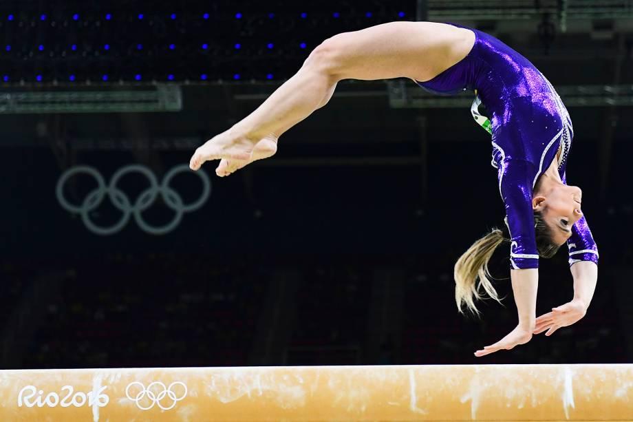 A ginasta brasileira Daniele Hypólito, durante apresentação na ginástica artística, na Arena Olímpica, no Rio de Janeiro (RJ) - 07/08/2016