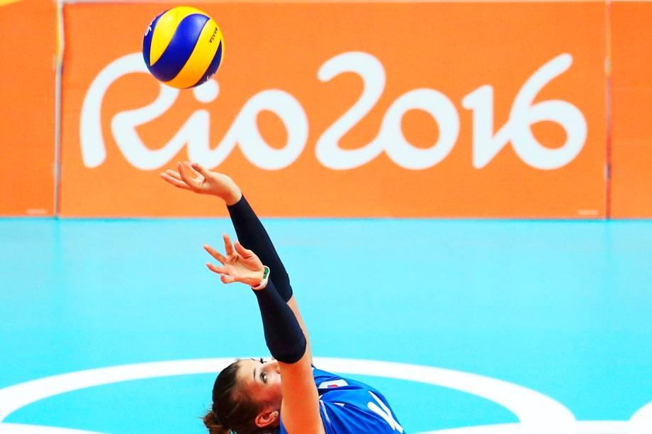 A italiana Alessia Orro, durante partida do vôlei de quadra feminino, contra a China, no Maracanãzinho - 08/08/2016