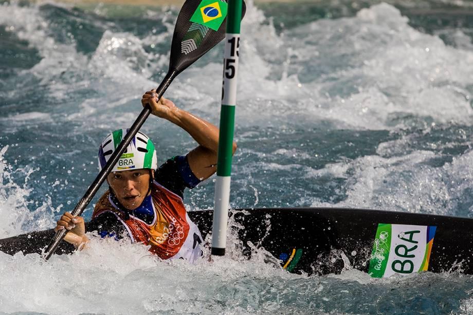 Ana Satila, canoísta brasileira  da categoria K1, durante as eliminatórias das Olimpíadas Rio 2016