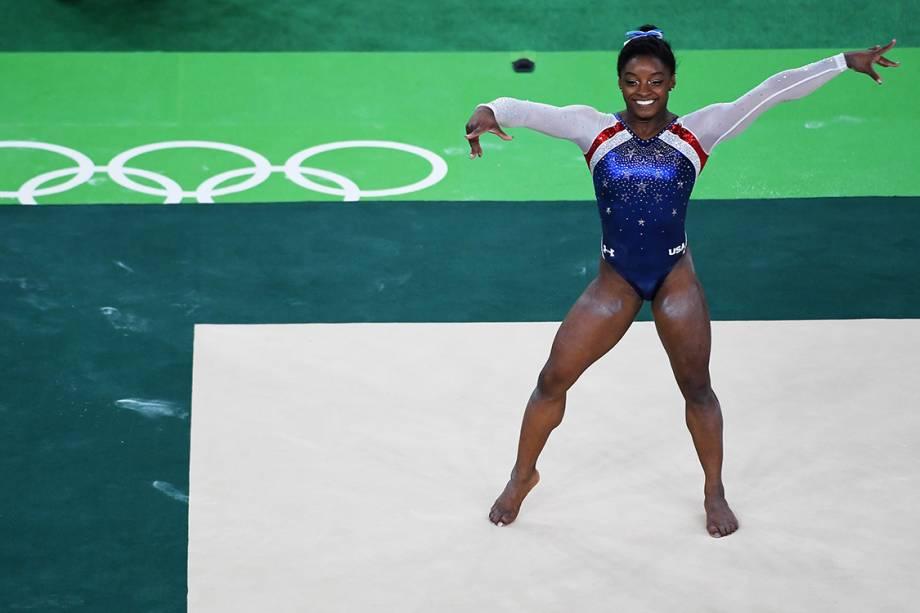 A ginasta Simone Biles, dos Estados Unidos, durante apresentação no solo na final individual, dos Jogos Olímpicos Rio 2016