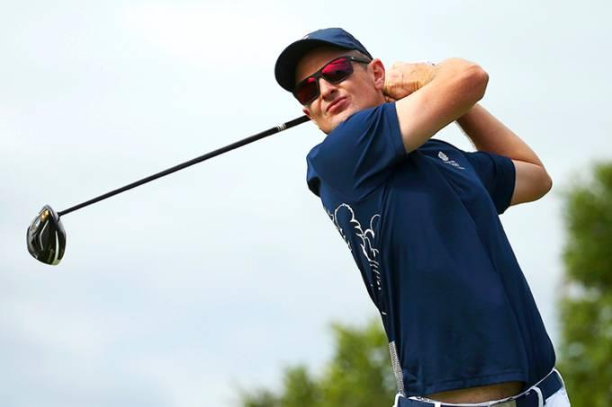 O golfista da Grã Bretanha, Justin Rose, durante a primeira etapa de golfe, nos Jogos Olímpicos Rio 2016
