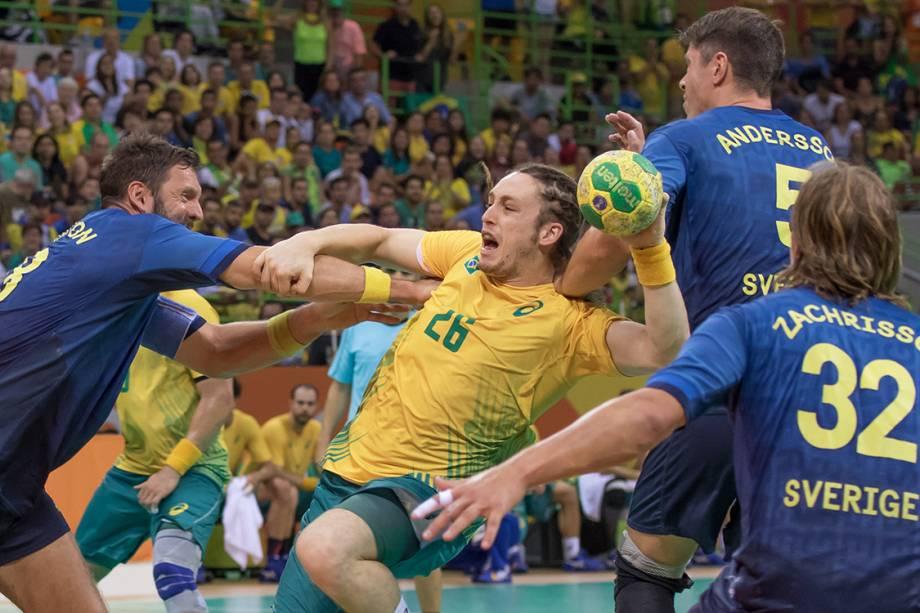 Partida de handebol entre Brasil e Suécia, nos Jogos Olímpicos Rio 2016