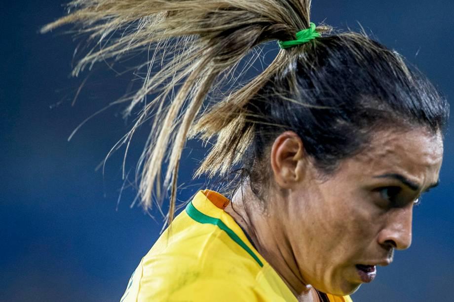 A brasileira Marta, durante jogo entre Brasil e Suécia, válida pela segunda rodada do grupo E, do torneio de futebol feminino da Rio-2016 - 06/08/2016