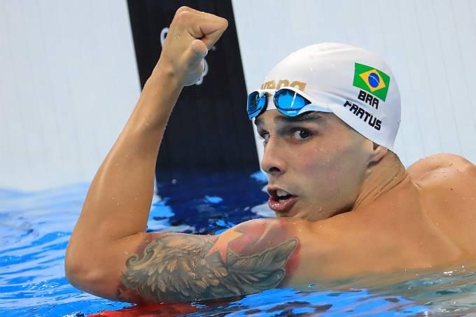 O brasileiro Bruno Fratus, durante semifinal dos 50m nado livre, nas Olimpíadas Rio 2016